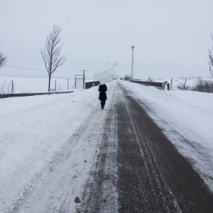 Ein Mensch mit einem riesigen Strauß weißer Ballons läuft eine stark verschneite Straße entlang.