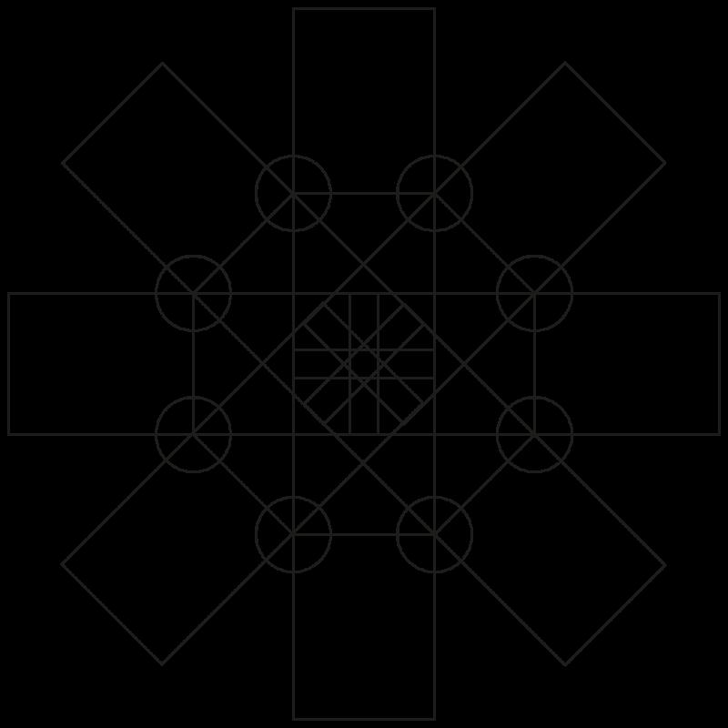 Die Wege im Oktagon als technische Zeichnung mit geometrischer Regelmäßigkeit.