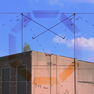 Aus der Dachkante einer Industriehalle wächst ein Baum. Halbtransparent über dem Foto sind technische Zeichnungen montiert.