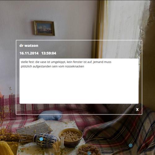 Wohnzimmer-Screenshot: dr watson schreibt am 16.11.2014: stelle fest: die vase ist umgekippt, kein fenster ist auf, jemand muss plötzlich aufgestanden sein vom nüsseknacken